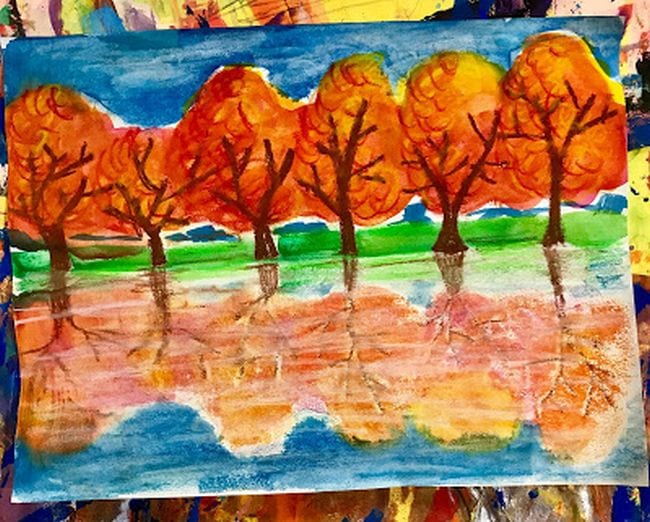 Painting of fall trees reflected in water