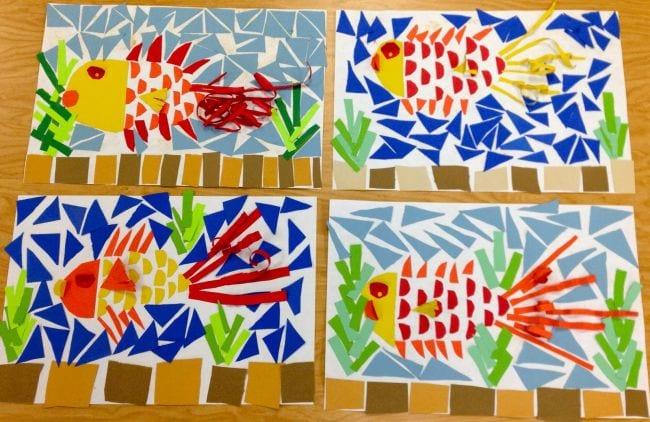 Paper fish mosaics (Second Grade Art)