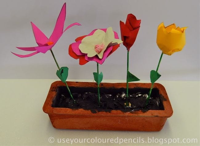 Clay planter box with paper flowers (Second Grade Art)
