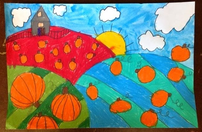 Colorful drawing of pumpkins on a striped hillside