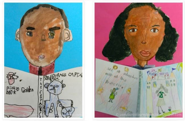 Self-portraits of students reading books (Second Grade Science)