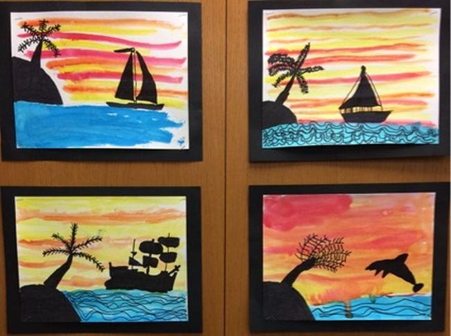Silhouette pictures of desert islands, ships, and dolphins against a sunset sky (Second Grade Science)