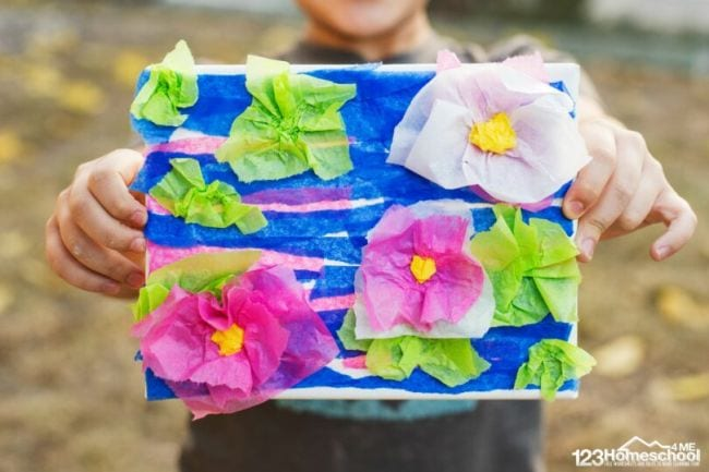 Monet-style lily pond made from tissue paper pieces (Second Grade Art)