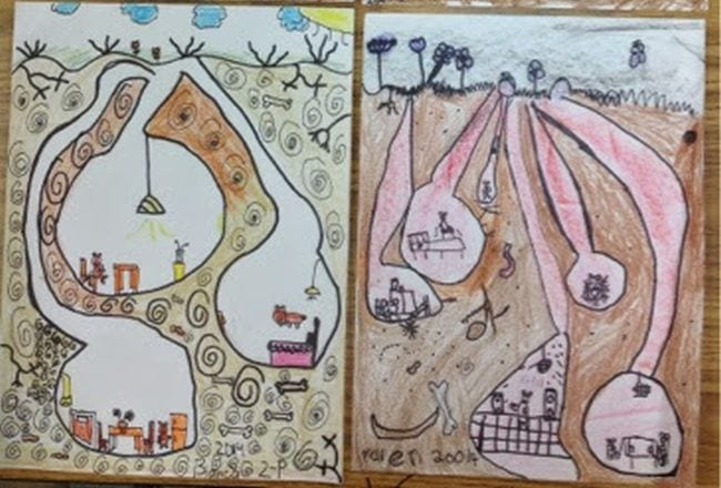 Children's illustrations of underground worlds (Second Grade Art)