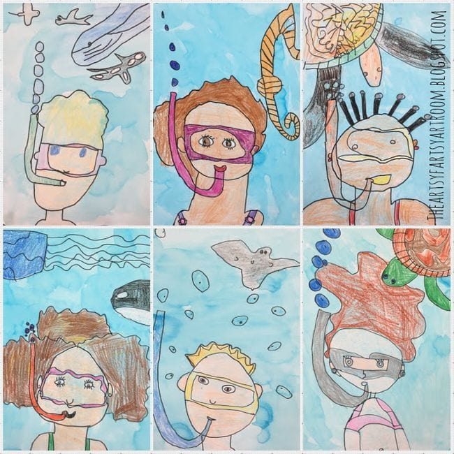 Illustrations of children underwater with snorkels and masks