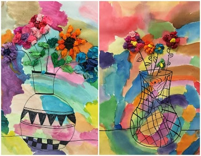 Line drawings of patterned vases on watercolor backgrounds with tissue paper flowers