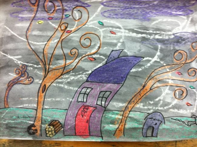 Drawing of a house and trees bending in the wind (Second Grade Art)