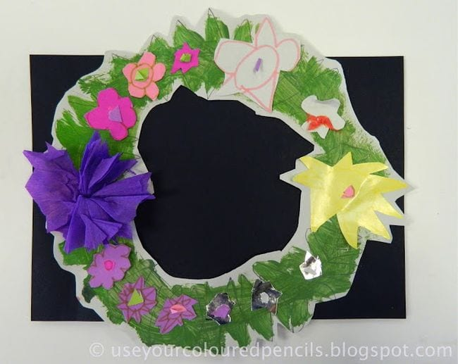 Paper wreath with tissue paper flowers