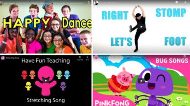 Collage of video stills for second grade brain breaks