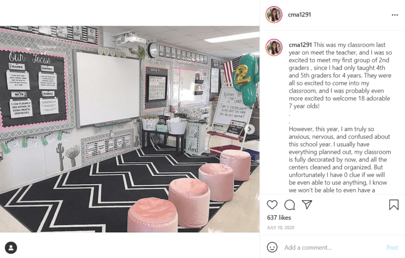 Chic affordable classroom decoration with black and white carpet and pink chairs