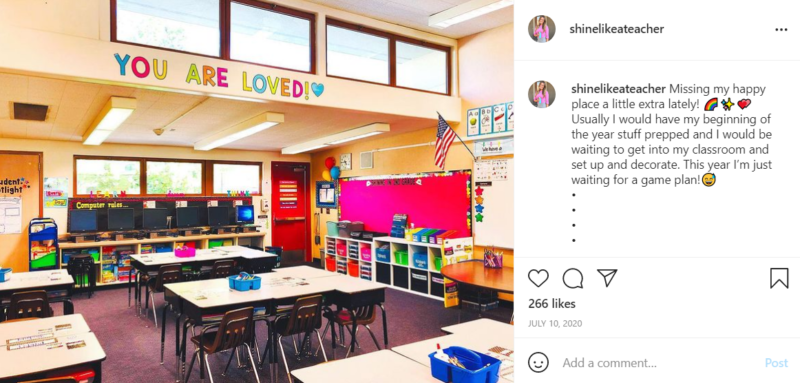 """Second grade classroom featuring a sign that says """"YOU ARE LOVED!"""""""