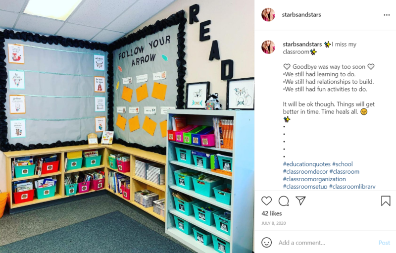 Reading nook in a second grade classroom with shelves and motivation signage