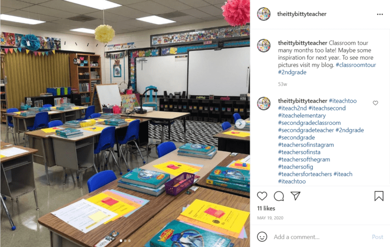 Fresh classroom decorations utilizing bright colors and pompoms from the ceiling