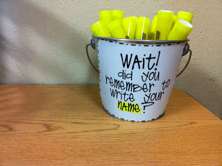 Highlighters in a mug so students mark their name before turning in.