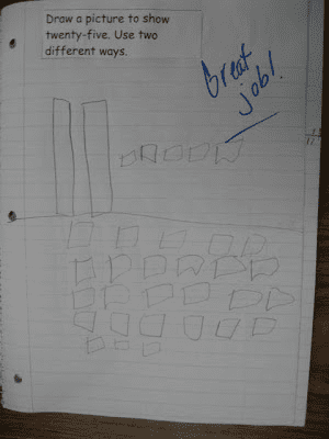 Page from a second grade math journal.