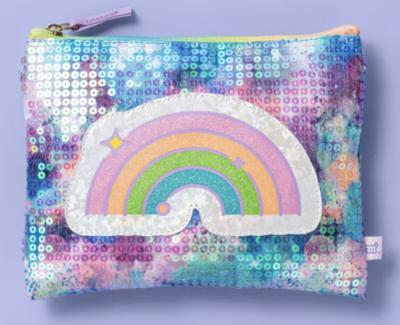 Sequin rainbow girls pencil case