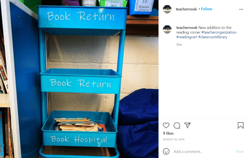 Still of set up your classroom library and create a place to receive lost or damaged books from Instagram