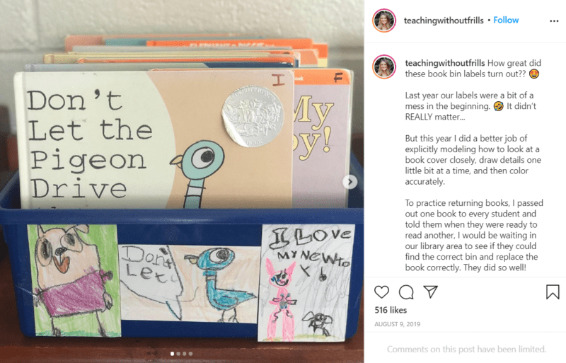 Still of set up your classroom library and have kids make labels from Instagram