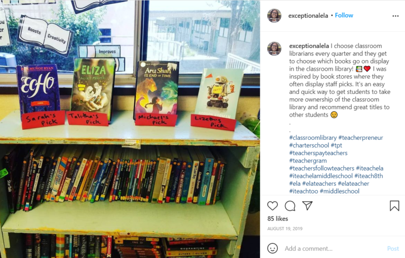 Still of set up your classroom library and highlight staff picks from Instagram