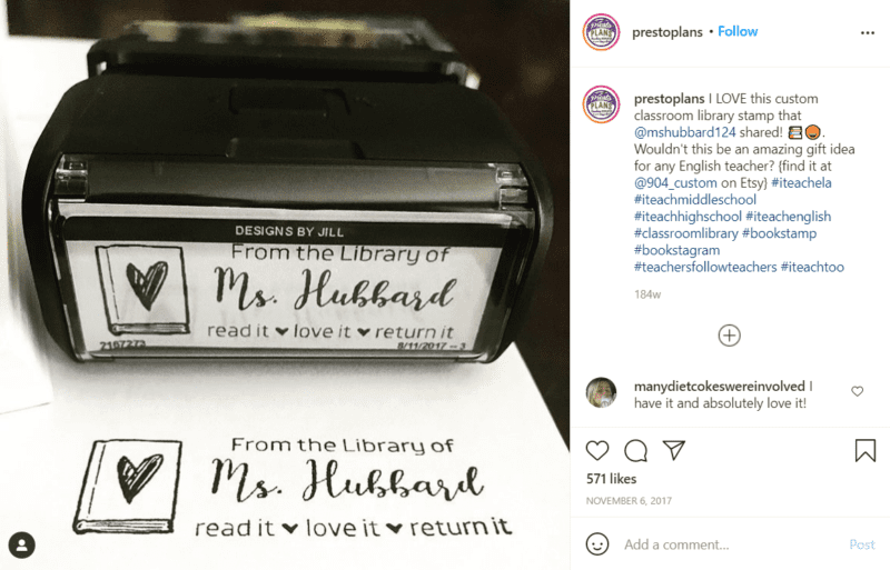 Still of set up your classroom library with a custom library stamp from Instagram