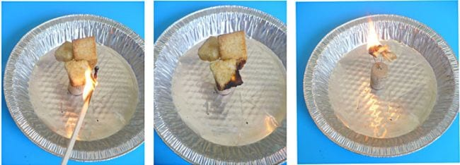 Collage of tin pans with burning bread cubes (Seventh Grade Science)