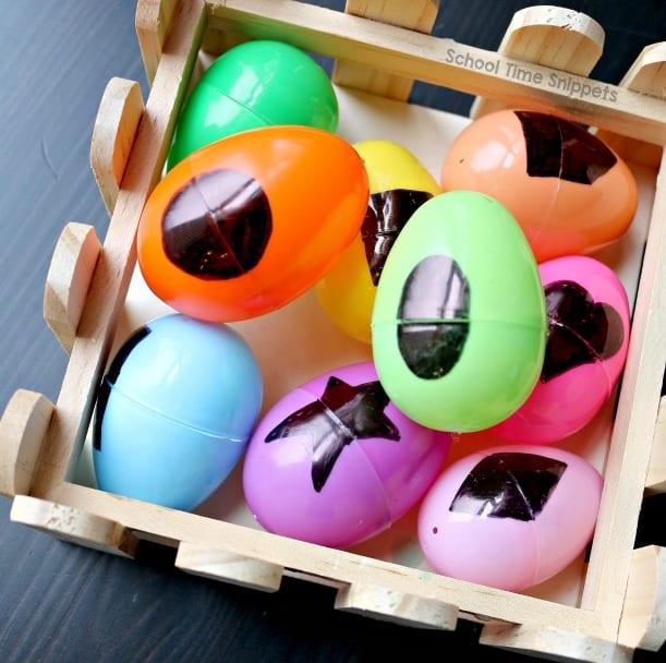Shapes on plastic eggs