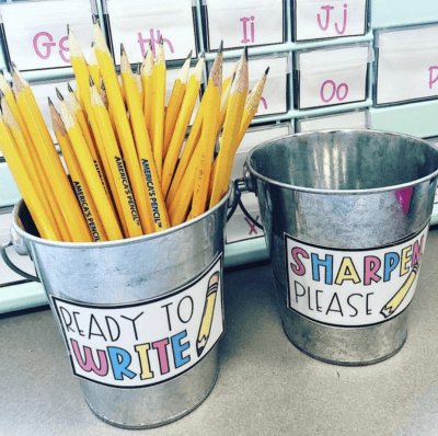 Sharpened and unsharpened pencils in buckets