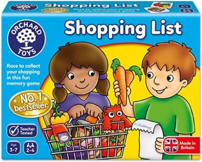 Box for Shopping List Memory Games with two children and grocery cart full of food items as an example of best preschool card games and board games for the classroom