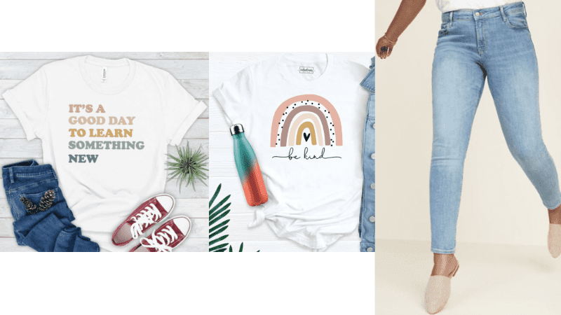 White short sleeve teacher tee with jeans outfit