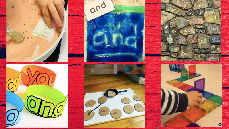 Collage of six sight word practice activities for the classroom