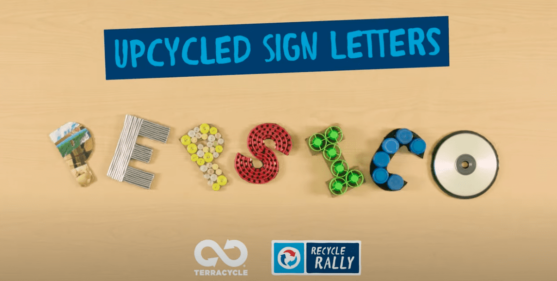 Cute letters made from recycled materials.