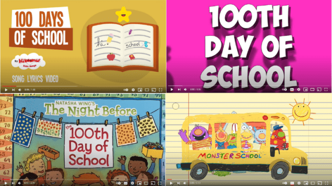 Collage of video screenshots for 100th day classroom celebrations
