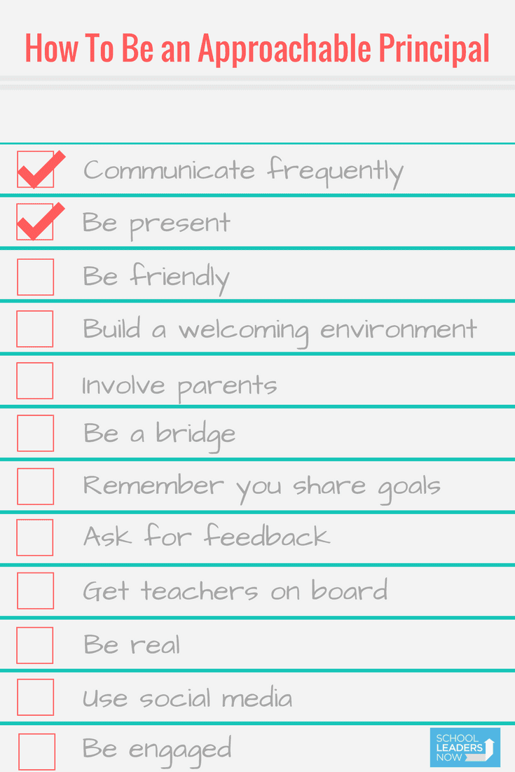 Checklist for approachable principal