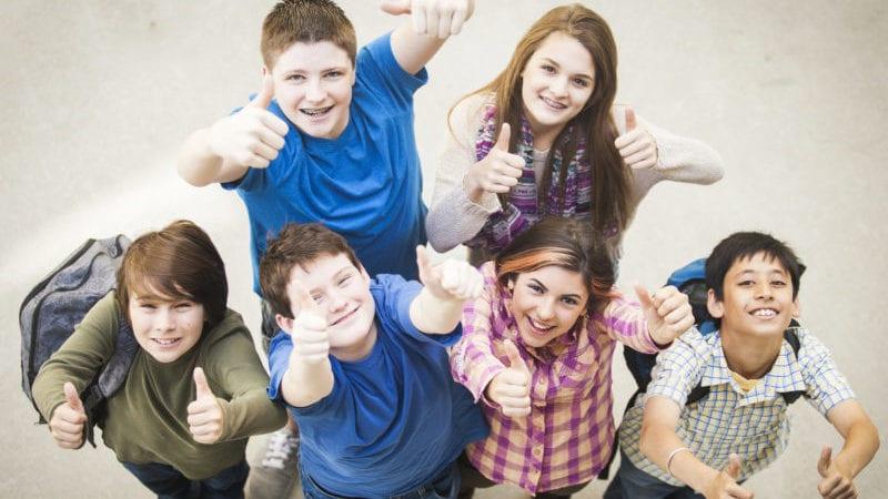 Middle School Kids Happy