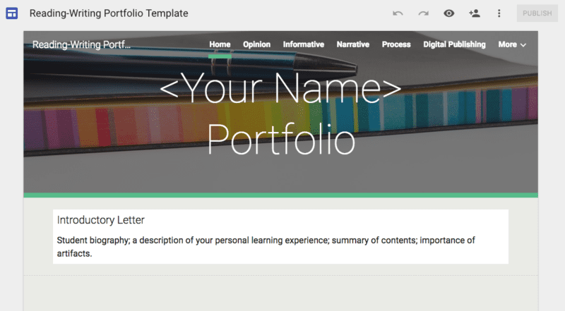 Digital Portfolios Assessments Students Can Own School Leaders Now - Digital portfolio template