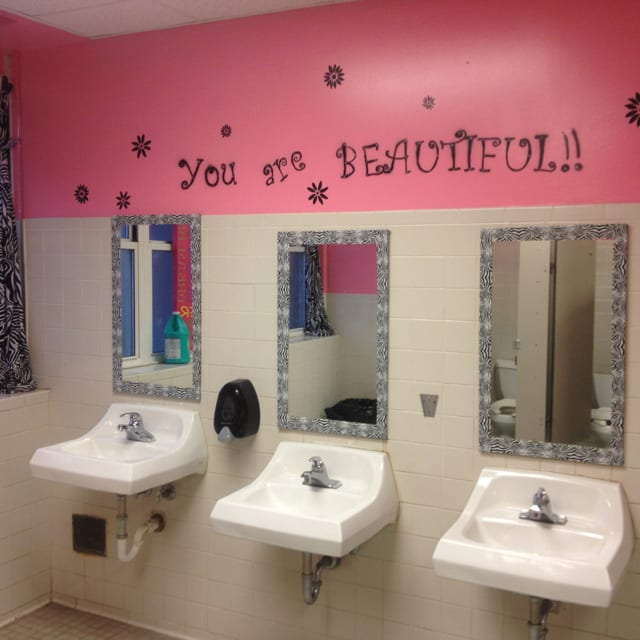 Elementary school bathroom Restroom School Bathroom You Are Beautiful School Leaders Now Weareteachers 15 School Bathrooms That Are Truly Game Changers