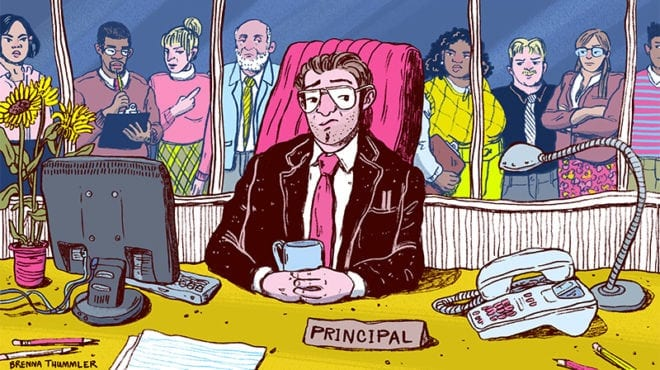illustration of principal surrounded by teachers shaking their heads