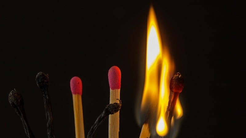 matches burning
