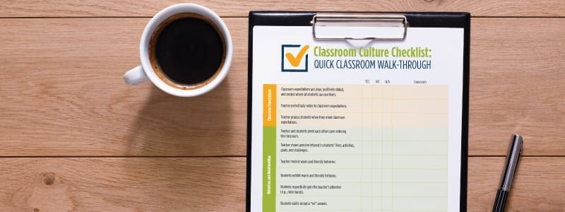 Printable Classroom Culture Checklist on desk with coffee cup and pen - alternative to suspension