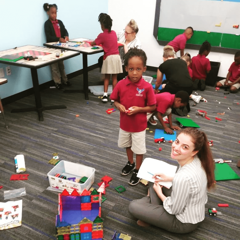 Students build in the STEM lab at Arlington Community Academy - STEAM Careers