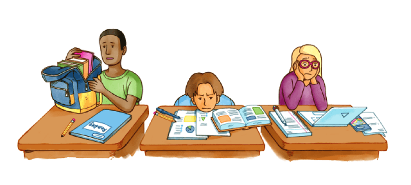Illustration of bored students - Testing in Schools