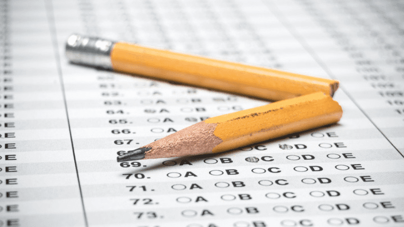 Broken pencil on standardized test answer sheet - Testing in Schools
