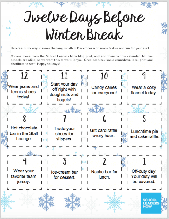 winter break countdown for your staff