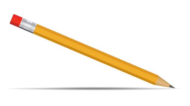 Yellow pencil with red eraser tip realistic On a white background look simple