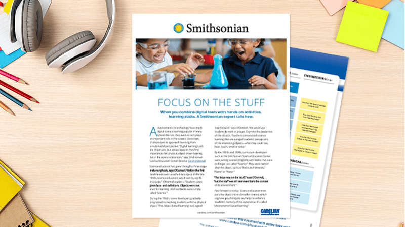 Smithsonian guide on desk with supplies - hands-on learning