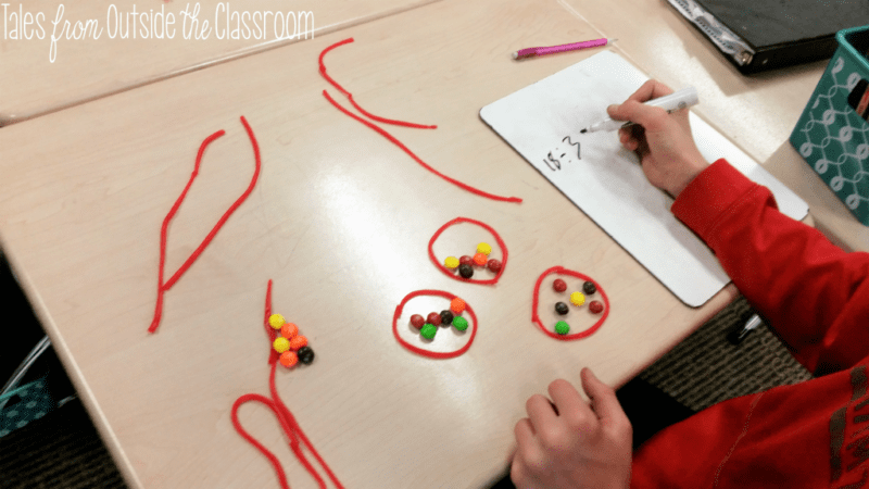 Student using licorice strings and Skittles to learn division