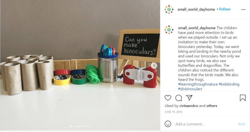 Still of small_world_dayhome Instagram post sharing tips for birding with kids