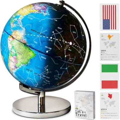 Smart Wallaby Illuminated Educational Kids World Globe with card game details