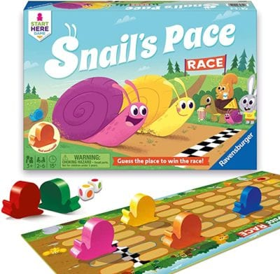 Box and game board with multicolored snail game pieces for Snail's Pace Race game as an example of best preschool card games and board games for the classroom