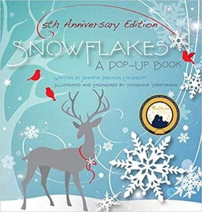 Book cover for Snowflakes: A Pop-Up Book as an example of pop-up books for kids